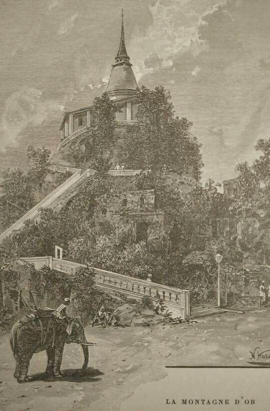 1894 Gravure Photo of elephant and Golden Mount in Bangkok