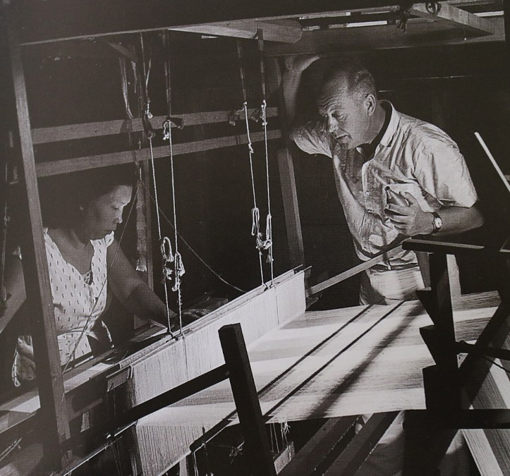 Jim Thompson and a silk weaver