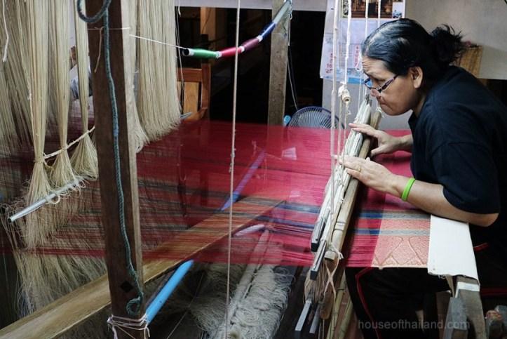 A Thai silk weaver in Baan Ta-Sa-Wang, Surin Province