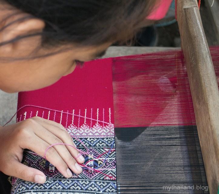 Thai fabric weaver in Mae Cheim, Chiang Rai Province