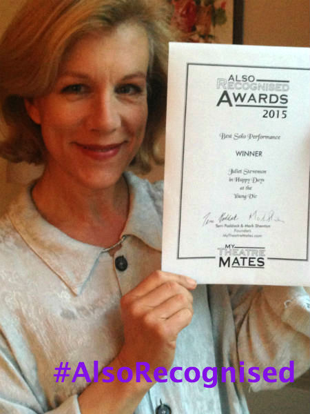 Juliet Stevenson won Best Solo Performance for Happy Days at the Young Vic