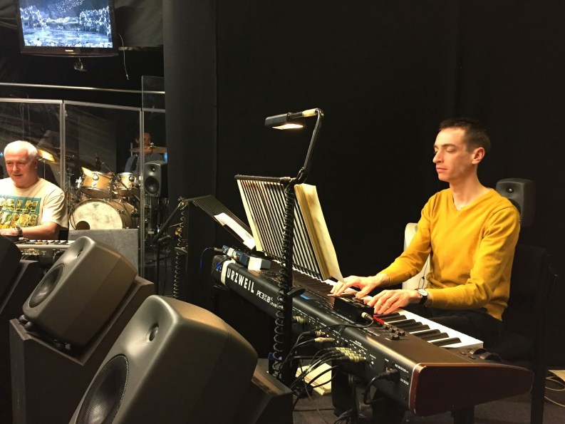 In the pit with the Cats orchestra: Paul Slater, Tom Clare and Ben Kennedy, at the London Palladium