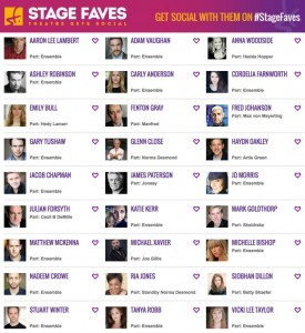 Find social media for Glenn Close and all the cast on www.stagefaves.com