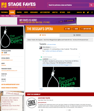 Get all social media for THE BEGGAR'S OPERA on www.stagefaves.com