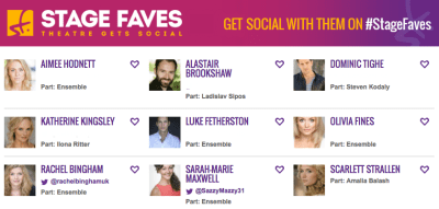 Get all social media for the Menier Chocolate Factory & the She Loves Me cast on www.stagefaves.com