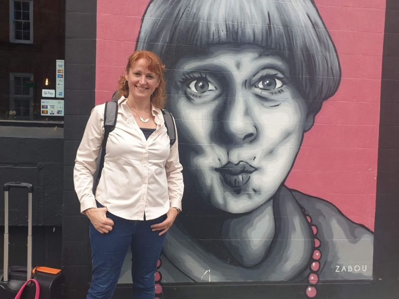 Victoria Wood, who is part of the Angel Comedy Club mural, inspired Celia to make people laugh