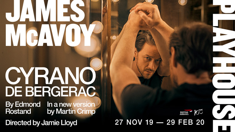 James McAvoy leads an 18-strong cast in Jamie Lloyd's production of Cyrano de Bergerac in the West End at the Playhouse Theatre