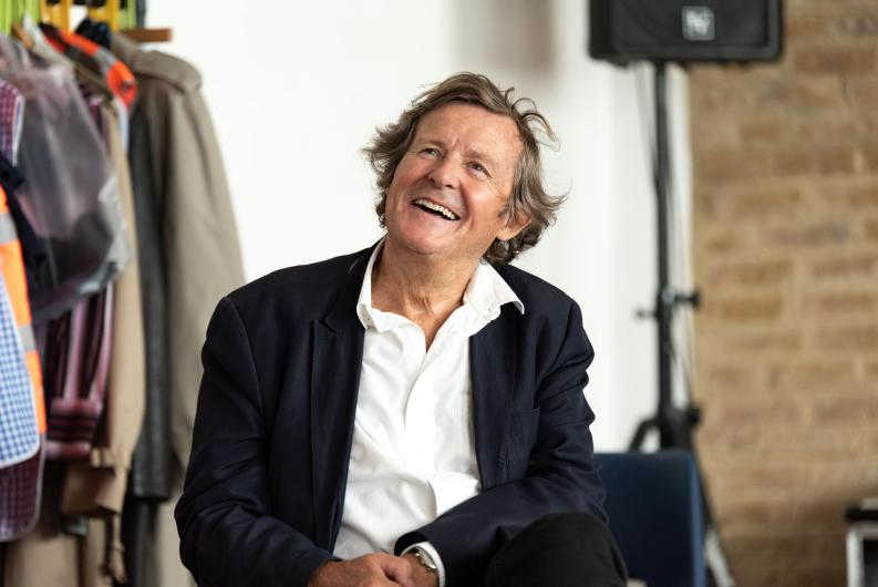 David Hare visiting The Permanent Way rehearsals in 2019