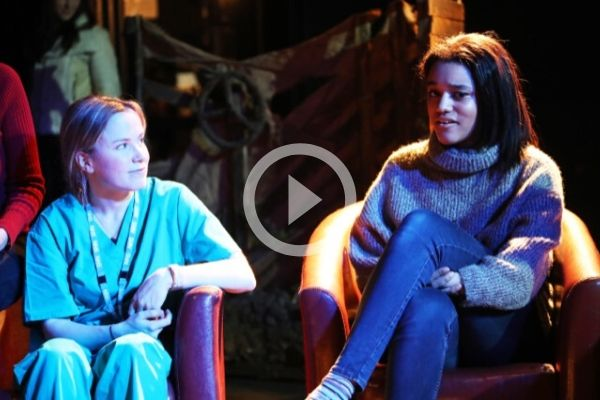 Blood Orange writer and performer Tania Amsel with producer Ameena Hamid at Terri Paddock's post-show talk at the Old Red Lion Theatre