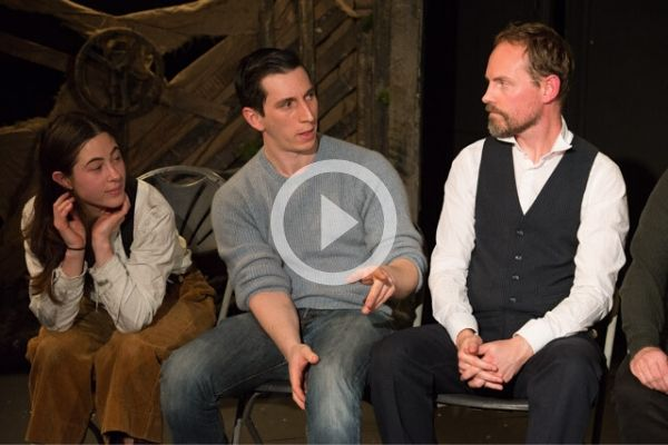 Helen Baranova, Sam Raffal and Tim Larkfield at Terri Paddock's post-show Q&A for The Signalman at London's Old Red Lion Theatre