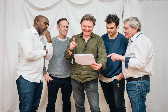 Andy Jordan (centre) with his cast of COPS at London's Southwark Playhouse