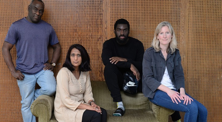 Alex Wheatle with Crongton Knights playwright Emteaz Hussain & co-directors Corey Campbell & Esther Richardson