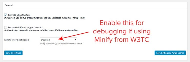 minify general settings
