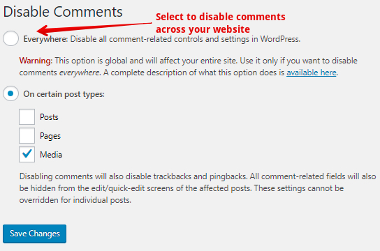 Disable comments using a plugin across the website