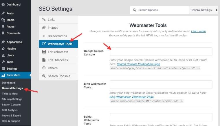 rank math webmaster tools settings