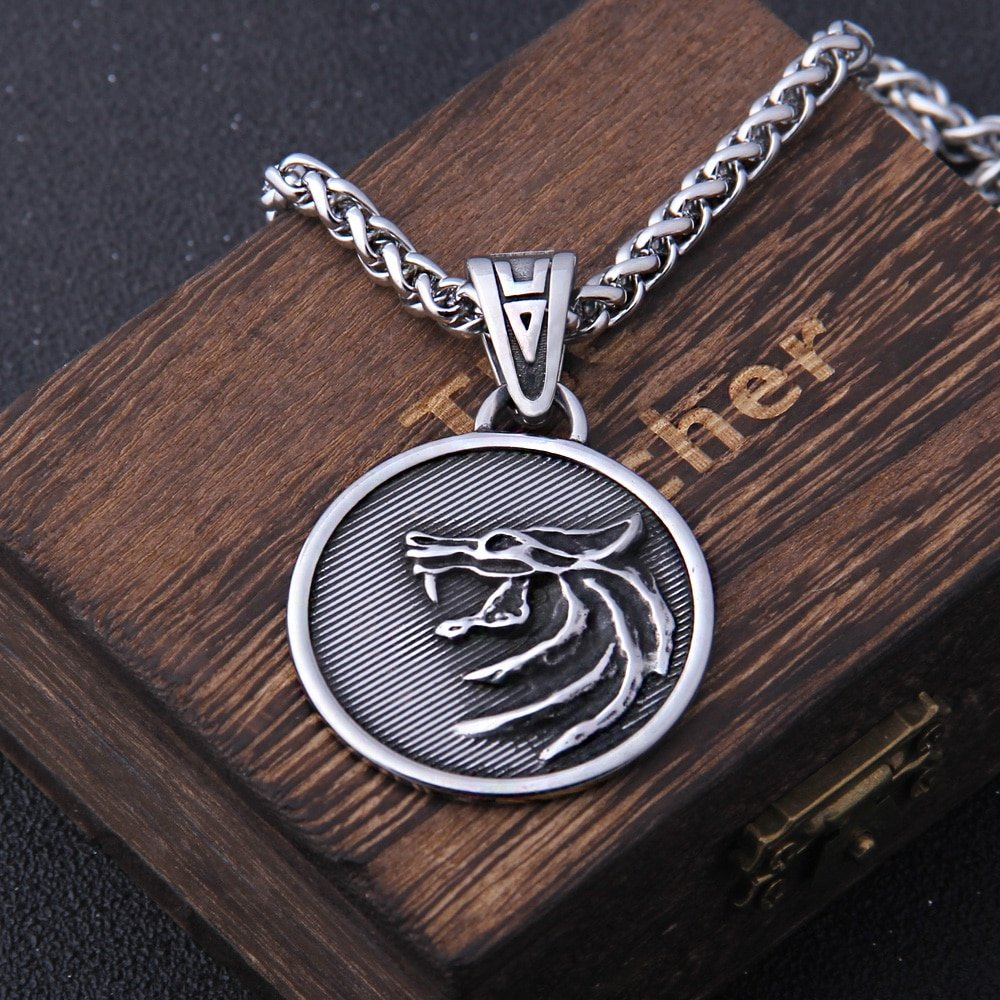 the Wizard wolf head pendant necklace for Geralt with a The Wild Hunt 3 Figure TV