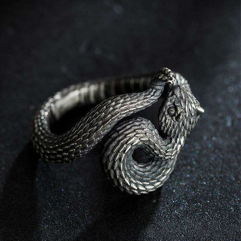 Men's Vintage Jewelry Antique Silver Plated Snake Ring Punk Style Snake-shaped Finger Ring Biker Jewelry for Men Women Gifts
