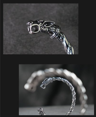 Viking Wolf Stainless steel open bangle for Unisex Open Cuff Twisted Pattern Carved