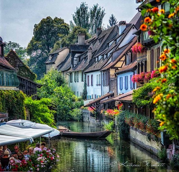View along canal in Colmar, France