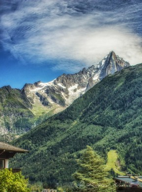 Les Drus from Chamonix valley
