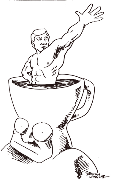 Too Much Coffee Totally Naked Man by Shannon Wheeler.