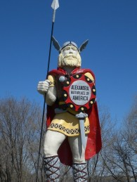 "The giant Viking statue ""Big Ole"" that towers over Runestone Museum in Minnesota."