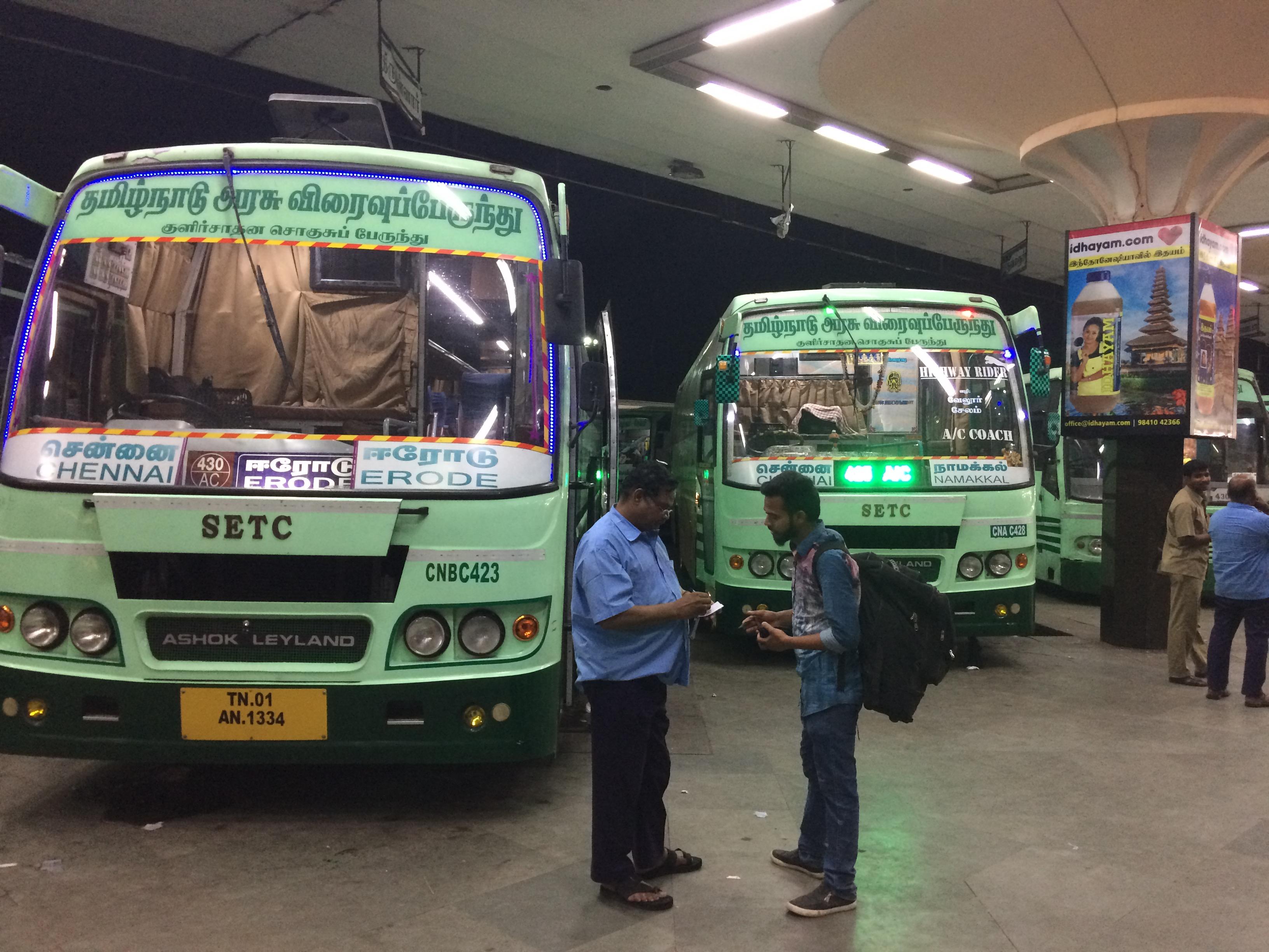 SETC AC Bus From Chennai To Namakkal and Erode TN 01 AN 1334