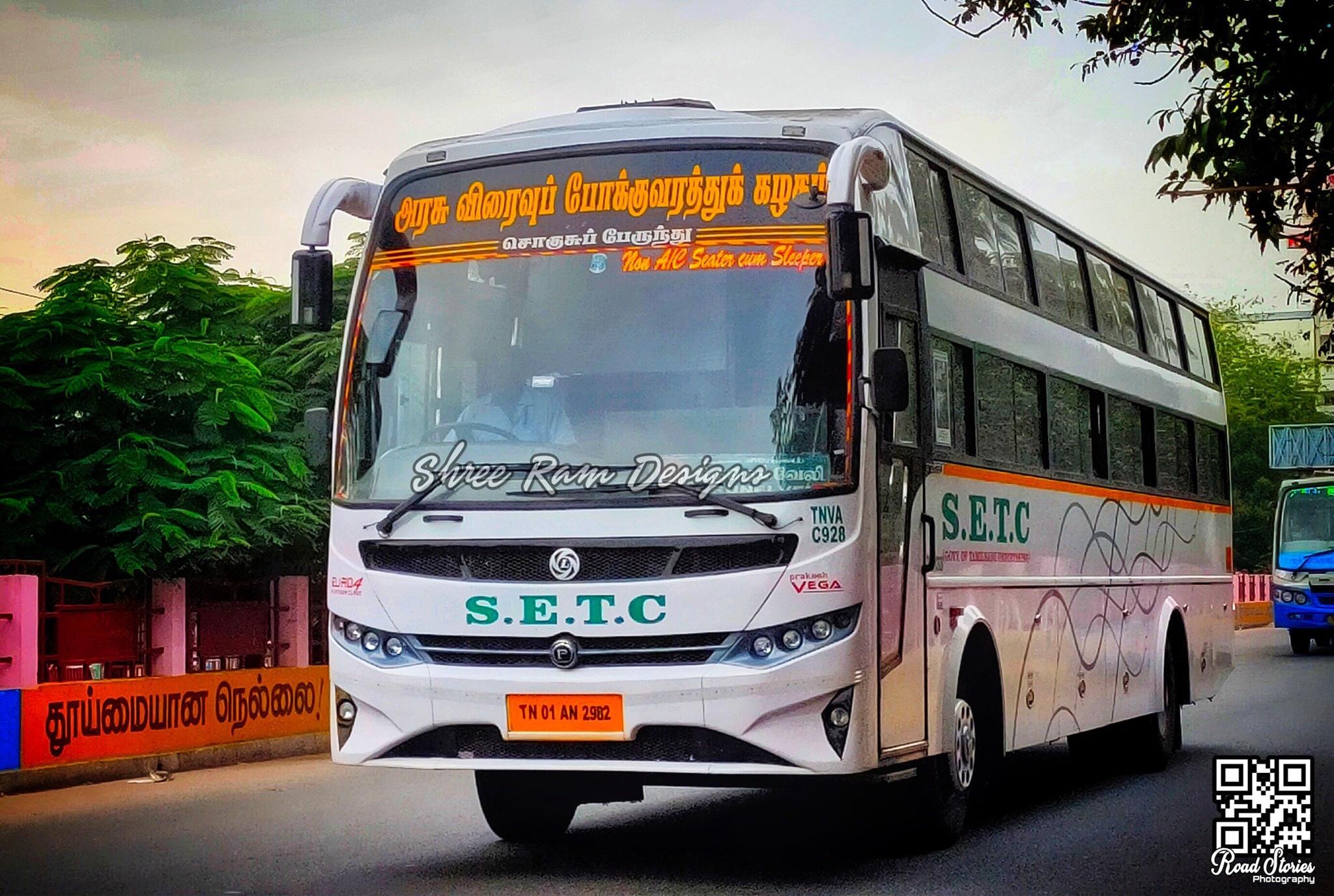 Coimbatore To Rameswaram SETC Non AC Seater Cum Sleeper Bus Service Timings