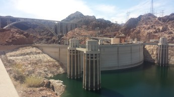 Hoover Dam with mountains around it