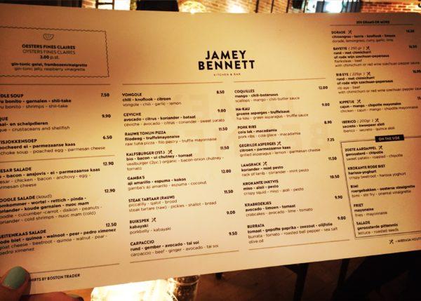 Menu Jamey Bennett Den Haag