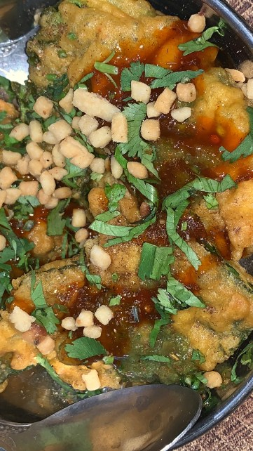 spinach papdi chat