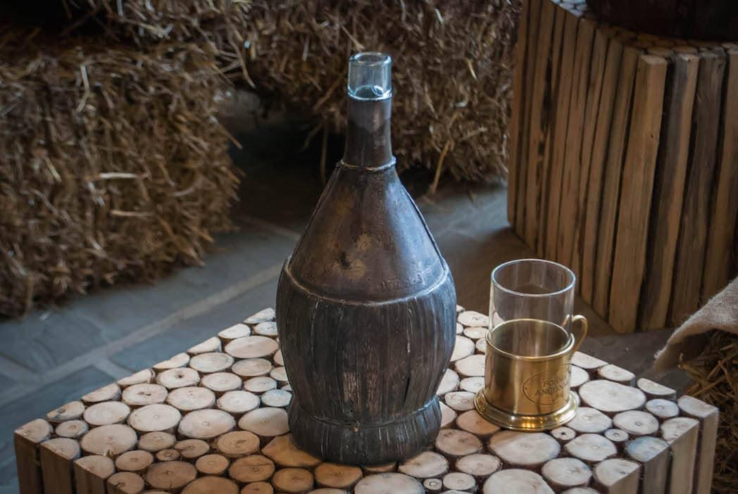 old wicker wine bottle Harvest