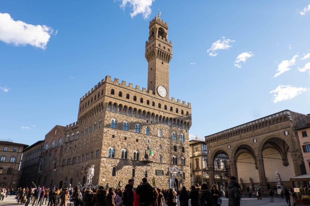 Arnolfo Tower Palazzo Vecchio Florence in winter