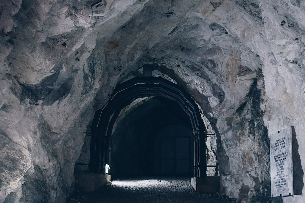 The tunnel at the entrance of the Antro del Corchia Underground
