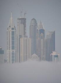 Marina Towers, Dubai in early morning mist...