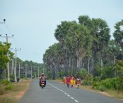 Sleepy main road across the island...
