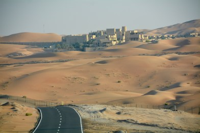 Qasr Al Sarab from the service road, an Arabian nights fantasy sort of very expensive, and utterly fabulous place....