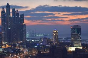 To the left Dubai Marina and a glorious sunset...