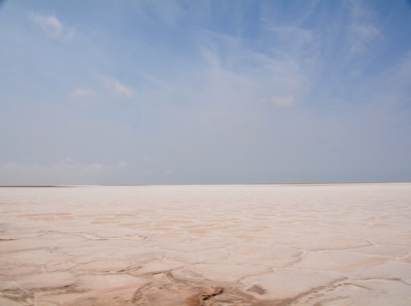 Crossing the salt pans, luckily the crust was strong enough...