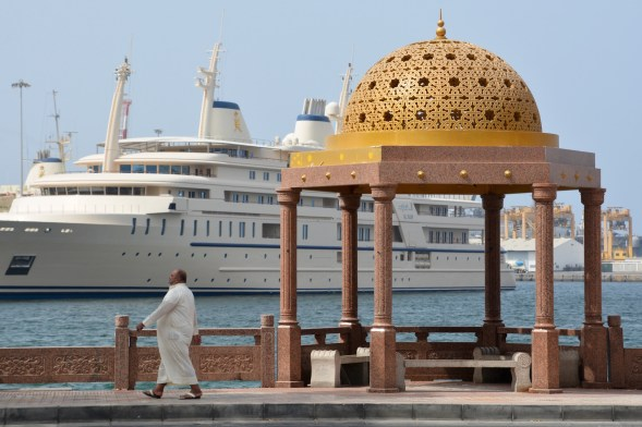 Strolling past a royal ship....