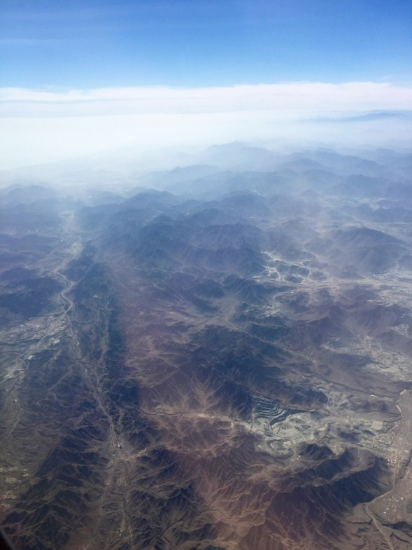 Above the eastern Hajar mountains before crossing the coast and heading out to India...