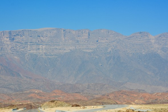 The towering escarpment that sits above the Salalah plains, no mist at this time of year...