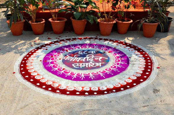 Rangoli designs on the ground, I don't know why it's there, but it looks wonderful and the detail of work is impressive...