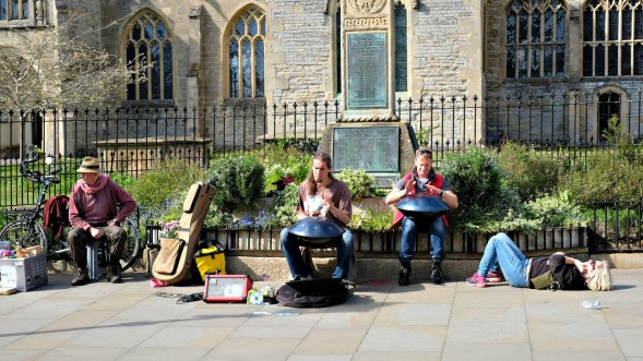 Music on the street- it was pretty good and the kind gentleman on the left gave me a flower...
