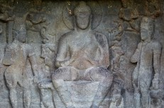 Lord Buddha in preaching posture with two Boddhisatvas