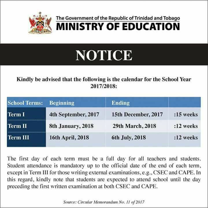 Dates for the Academic School Year 2017-2018 Trinidad and Tobago