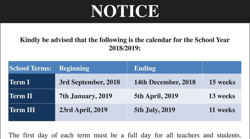 Dates for the Academic School Year 2018-2019 Trinidad and Tobago ...