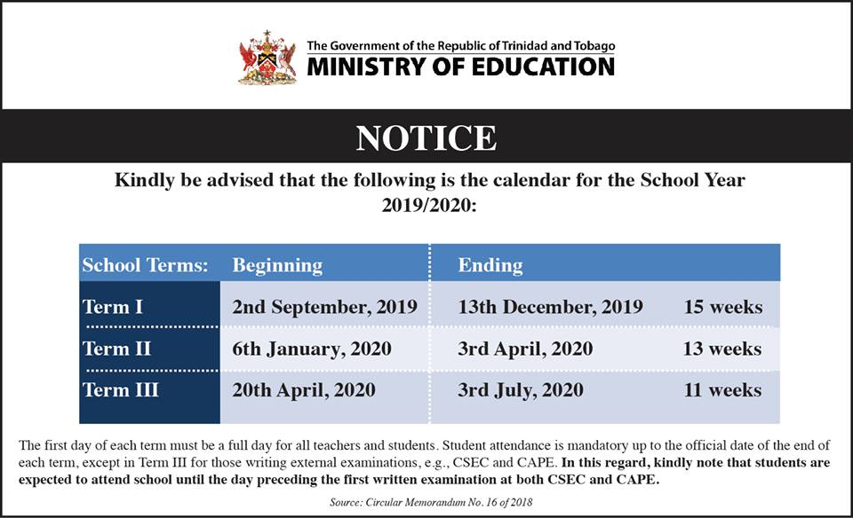 Calendar Sept 2020.Dates For The Academic School Year 2019 2020 Trinidad And Tobago