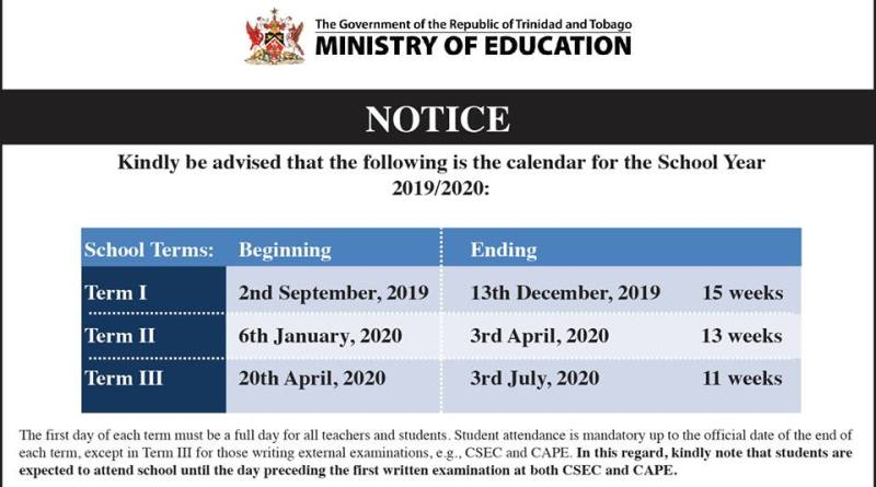 Easter 2020 Calendar.Dates For The Academic School Year 2019 2020 Trinidad And Tobago