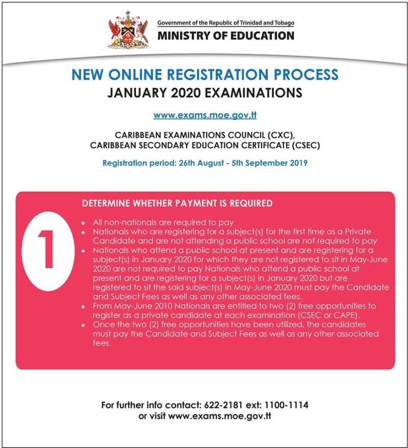 January 2020 CXC New Online Registration Process My Trini